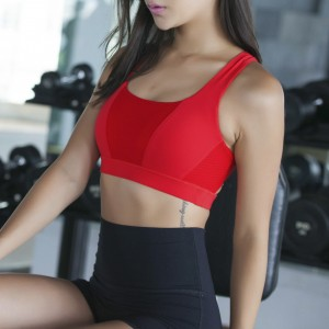 2017 Gorgeous Strappy Cross Back Bralette SPORTS Gym Yoga Bra Crop Top Red / Black Color(s)